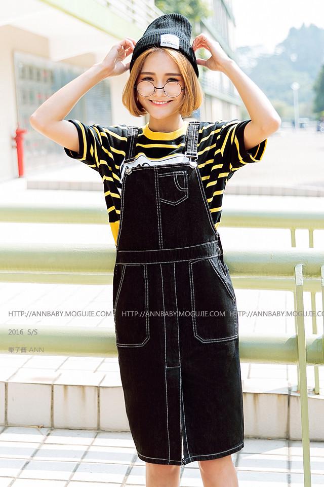 【2016春夏新款日系学院风可爱减龄黑色百搭休闲短裙